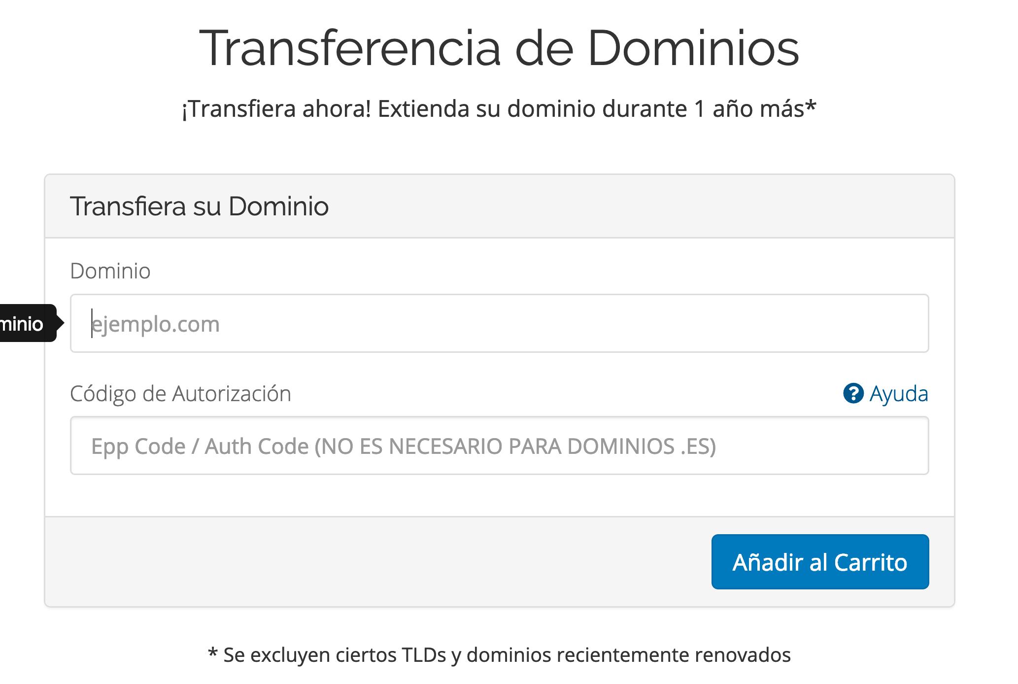 Transferir dominios
